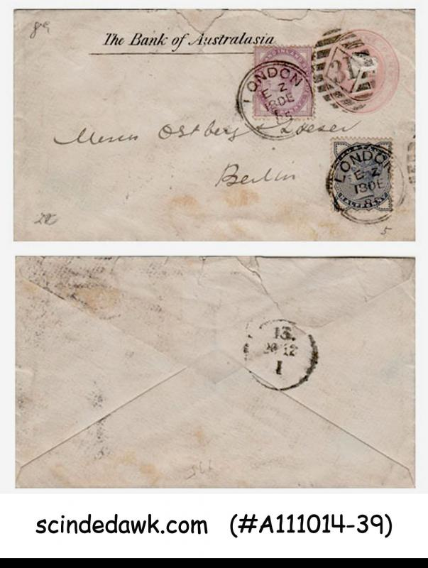 GREAT BRITAIN - 1885 QV ENVELOPE TO BERLIN WITH QV STAMPS