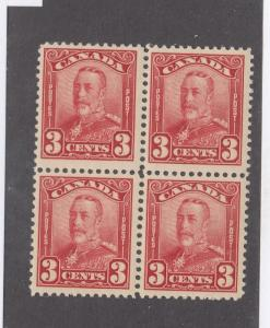CANADA # 151 MNH KGV 3cts SCROLL ISSUE BLOCK OF 4 CAT VALUE $360