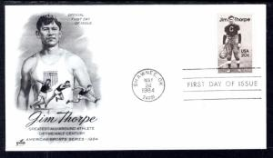 US 2089 Jim Thorpe Artcraft U/A FDC