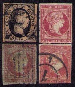 4 Ea Spain 1851/1856 Queen Isabella II Scott 6,37,41,(#45 MNH)3 Cancelled