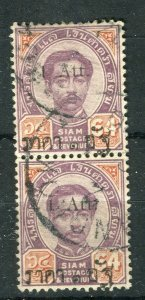 THAILAND; 1894 Small Roman 'Atts' surcharge used hinged 1/64a. PAIR