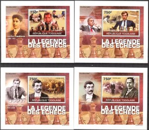 {084} Togo 2010 Chess Legends 4 S/S Deluxe MNH**