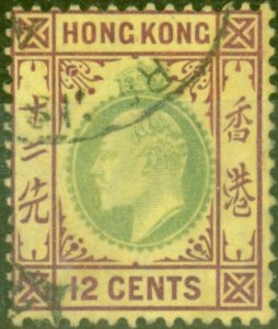 Hong Kong 1906 12c Green & Purple-Yellow SG82 Fine Used