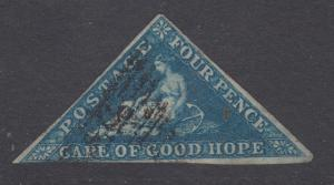 Cape of Good Hope Sc 2, SG 2, used.  1853 4p deep blue Hope Seated, blued paper
