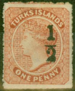 Turks & Caicos Is 1881 1/2 on 1d Dull Red SG16 Setting 8 Fine Unused