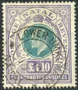 Natal SG143 One pound 10 shillings Green and Violet Cat 130 pounds