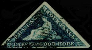 SOUTH AFRICA - Cape of Good Hope SG19b, 4d Steel Blue, FU. Cat £500. RPS CERT