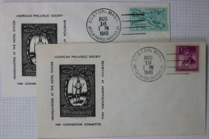 APS Natl Philatelic Exhibition Boston MA Convention Cachet Cover 1949 set 2