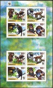 Angola 2011 WWF Monkeys Macaques Sheet of 8 Imperf. MNH