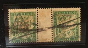 France Chiffre Taxe ???? Gutter Pair - 60 Centimes Percevoir Postes RF ???