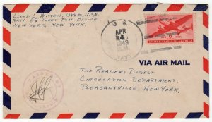 Transport 6c used airmail from Navy Number 63, Farfan Canal Zone, 1943