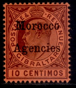 MOROCCO AGENCIES EDVII SG18, 10c dull purple/red, M MINT.