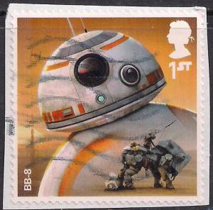 GB 2017 QE2 1st Class Star Wars Aliens & Droids used SG 4011 on paper - M1136