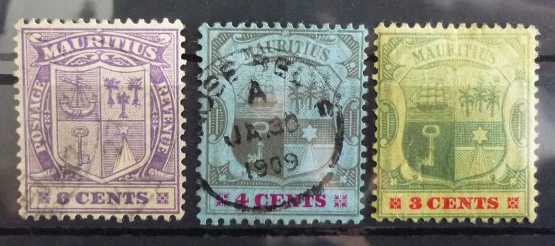 MAURITIUS - 3 EARLY STAMPS! gb uk british colonies J1