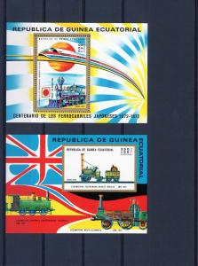 Equatorial Guinea 1972 Trains Japanese 100th.Souvenir Sheets Perf+Imperf.(2) MNH