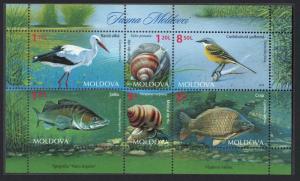 Moldova Stork Wagtail Birds Fish Snails Fauna MS MI#883-888