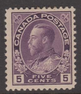 Canada 1922 KGV 5c Violet Sc#112 VF MH