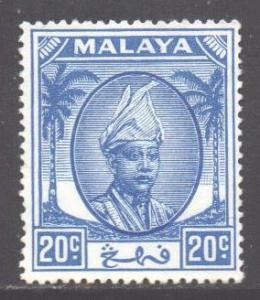 Malaya Pahang Scott 68 - SG65, 1950 Sultan 20c Blue MH*