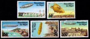 Republic Of NIGER- 1977 - Ferdinand Graf Von Zeppelin  Aviation Set Of Five Used