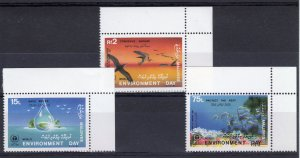 Maldives 1988 MNH World Environment Day 1987 3v Set Birds Fish Coral Reef Stamps