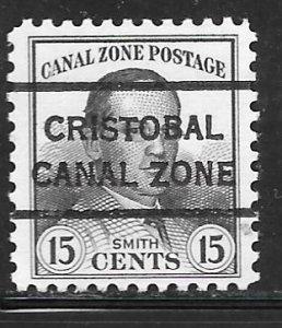 Canal Zone 111: 15c Jackson Smith, Christobal precancel, MNH, VF