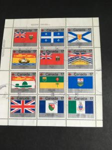 Canada #832a Used VF 2016 Sc. US$4. USC C$5. 1979 Flags Pane of 12 Postally Used