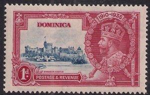Dominica 1935 KGV1 1d Silver Jubilee MM SG 92 ( K1495 )