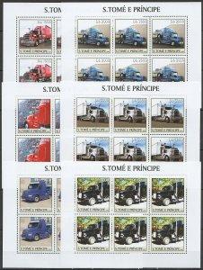 KV049 2003 S. TOME & PRINCIPE NEW TRANSPORT AUTOMOBILES CARS TRUCKS !!! 6SET MNH
