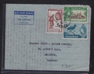 SARAWAK POSTAL HISTORY (PP1509B) 1959 QEII 4C+6C+25C AEROGRAMME MIRI TO UK