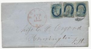 US 19th Century Cover Scott #24 x3 Boston, MA April 11, 1859