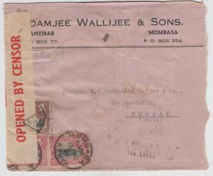 K.U.T.  1941  Mombasa  Cover To India Censored  2 Scans  62311