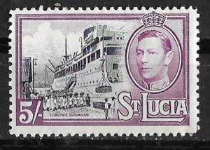 St. Lucia # 124  George VI  5sh. Loading Bananas    (1) Mint NH