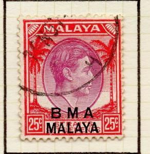 Malaya Straights Settlements 1945 Early Shade of Used 25c. BMA Optd 307958