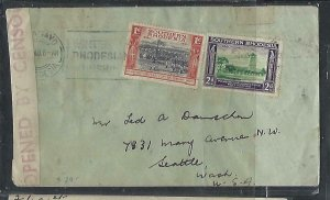 SOUTHERN RHODESIA COVER (PP1211B) 1940 1/2D+2D CENSOR COVER TO USA