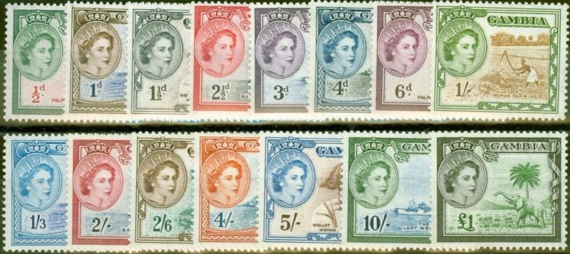 Gambia 1953 set of 15 SG171-185 V.F Lightly Mtd Mint