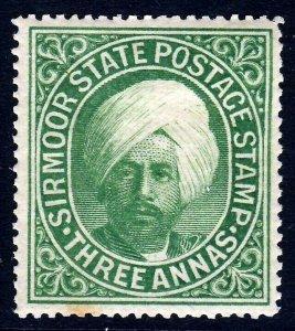 SIRMOOR INDIA 1899 3 Annas Raja Shamsher Parkash SG 30 MINT