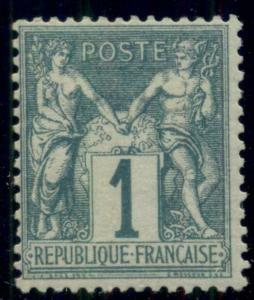 FRANCE #64, 1c green, og, hinged, F/VF, Scott $125.00