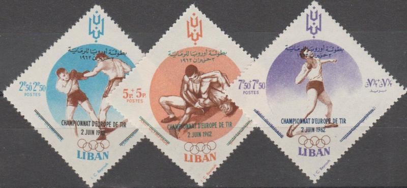 Lebanon MNH B16-18 Sports 1962 with inscription