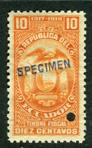 ECUADOR; Early 1917 fine Fiscal issue Mint MNH unmounted SPECIMEN 10c.