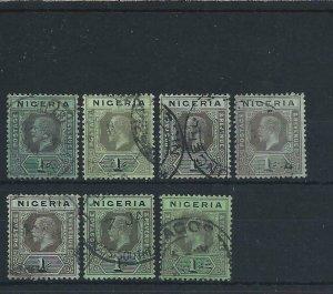 NIGERIA 1914-29 1s VALUE ALL 7 SHADES G/FU SG 8/8f (INC SCARCE UNPRICED SG 8/8f