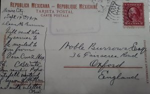V) 1914 MEXICO, MEXICO CITY PRIVATELY CARRIED TO US, MEXICAN PPC TO ENGLAND, US