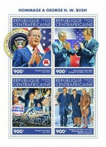 HERRICKSTAMP NEW ISSUES CENTRAL AFRICA George H.W. Bush Sheetlet #2