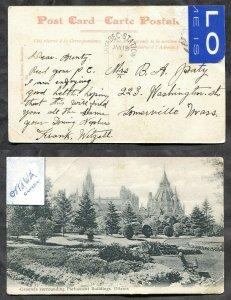 2570 - SAYABEC STATION Quebec 1909 Split Ring on Ottawa Postcard