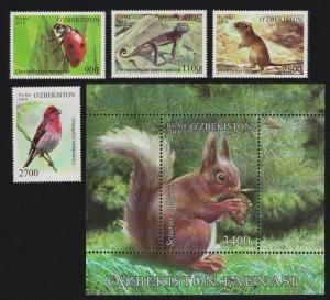 Uzbekistan Ladybird Lizard Rosefinch Bird Squirrel 4v+MS