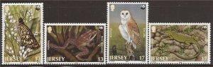 Jersey - 1989 World Wildlife Fund Reptile Butterfly 4 Stamp Sheet Scott #507-10