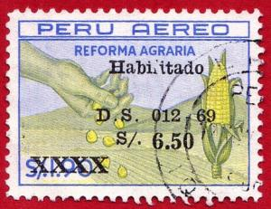 PERU  SCOTT# C232  **USED** 1669 5.50s on 1.90S HAND, CORN & FIELD (SURCHARGE)
