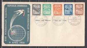 Indonesia, Scott cat. 445-449. Aviation Day issue. Helicopter. First day cover.