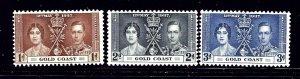 Gold Coast 112-14 MNH 1937 KGVI Coronation (RR) (ap1042)