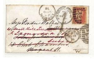 MM174 1876 GB London 1d Plate *PADDINGTON* Forwarded *1*Charge {samwells-covers}