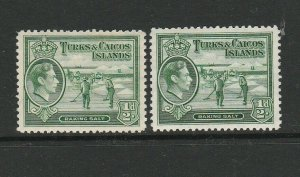 Turks & Caicos islands 1938/45 1/2d Both listed shades MM SG 195 & 195a